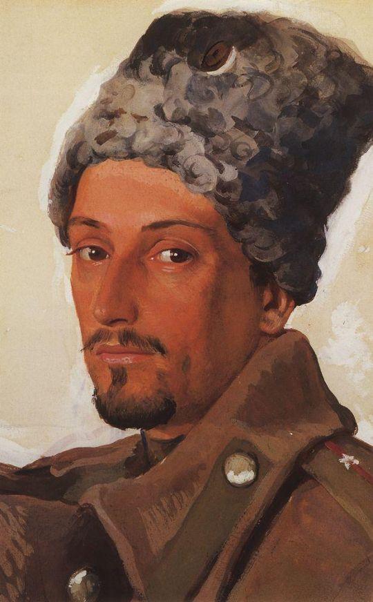 Портрет Е.Е.Лансере в папахе.