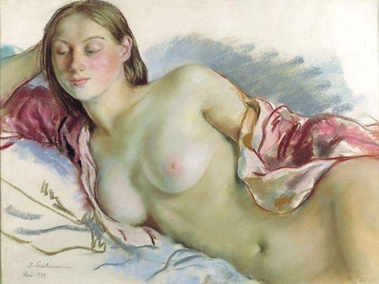Лежащая обнаженная с вишневой накидкой.