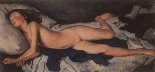 Спящая девочка на синем (Катюша на одеяле).