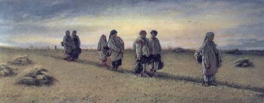 Возвращение жниц с поля в Рязанской губернии