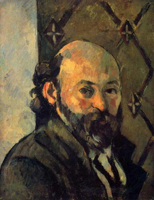 Автопортрет с оливкового цвета обоями