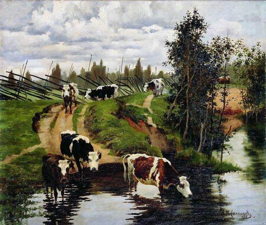 Коровы на водопое. 1908