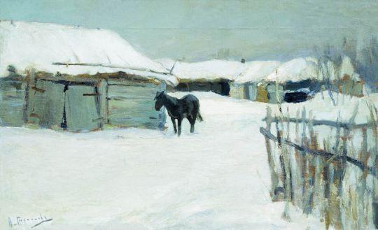 Деревня зимой. 1900-1910