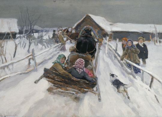 Катание на Масленицу. 1910