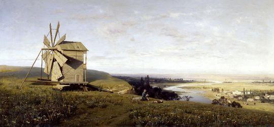 Украинский пейзаж с ветряной мельницей. 1882