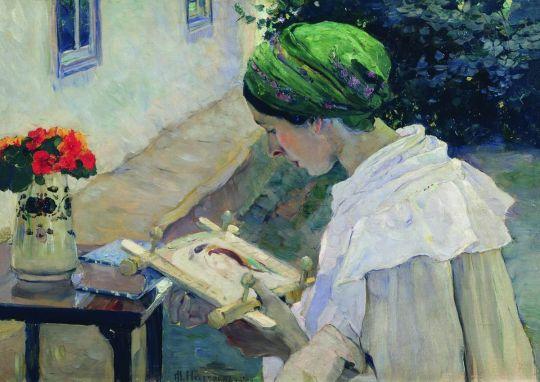 Портрет Е.П.Нестеровой за вышиванием. 1909