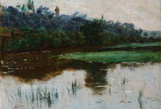 Пейзаж с прудом и церковью