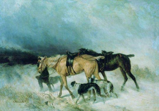 Лошади и борзые