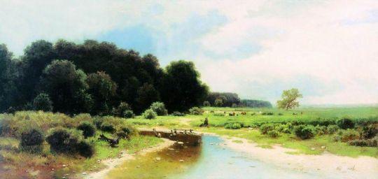 Летний пейзаж с рекой. 1870-е