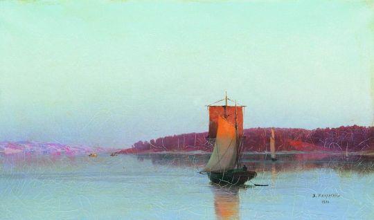 Парусное судно при солнечном закате. 1886