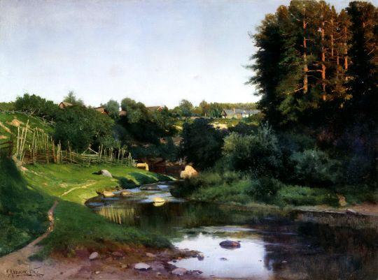 Деревня на берегу реки. Вечер. 1905