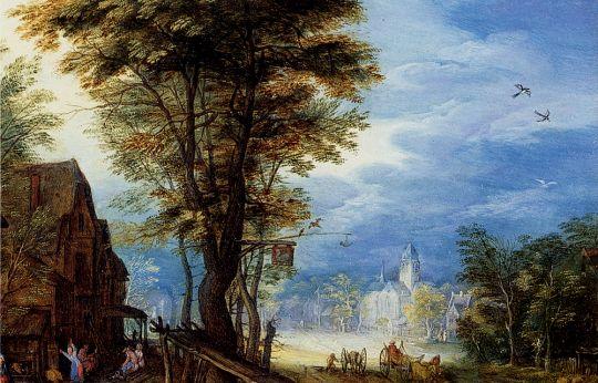 Деревенская улица со святым семейством, прибывшим в гостиницу_деталь