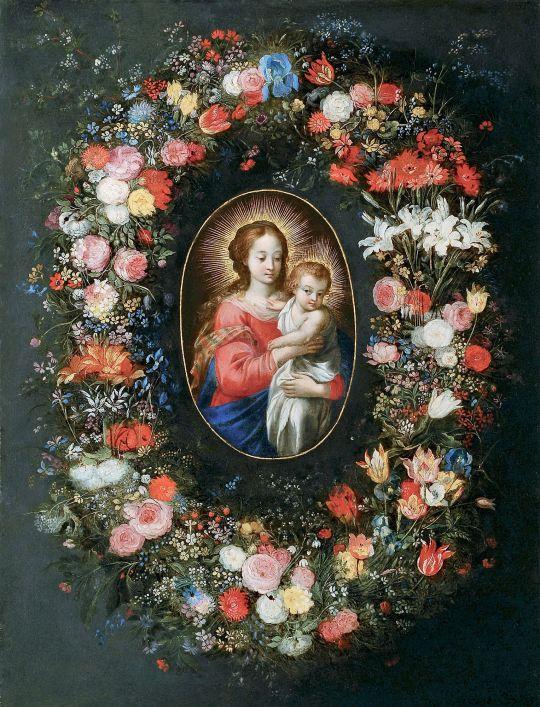Мадонна с младенцем в цветочной гирлянде (совместно с Хансом Роттенхаммером) (Частная коллекция)