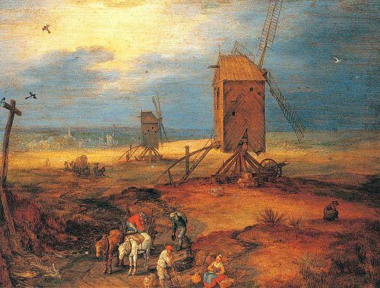 Пейзаж с мельницами