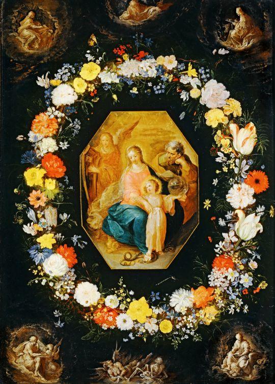 Святое семейство в цветах (совместно с Франсом Франкеном) (Париж, Лувр)
