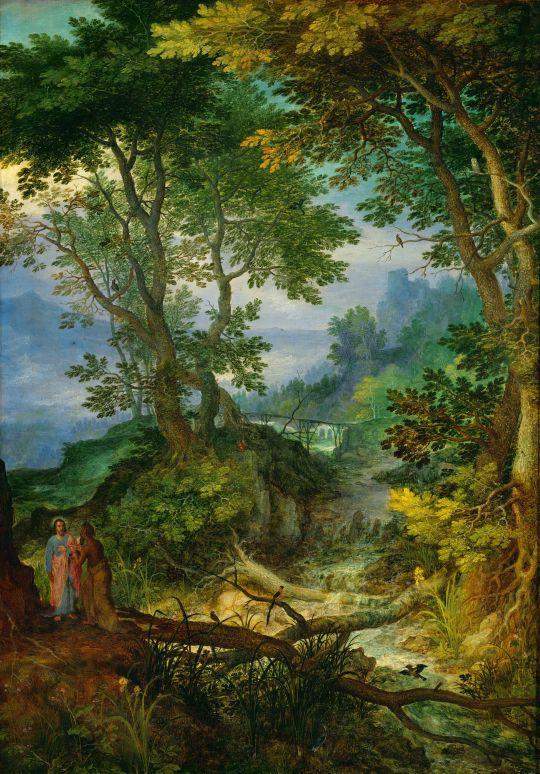 Скалистый пейзаж с искушением Христа (1605-1610) (Вена, Музей истории искусств)