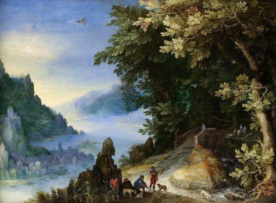 Скалистый речной пейзаж с путниками (Частная коллекция)
