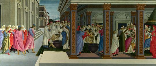 Четыре сцены из жизни св.Зиновия. Крещение св.Зиновия (1500-1505) (66,5 x 149,5) (Лондон, Нац.галерея)