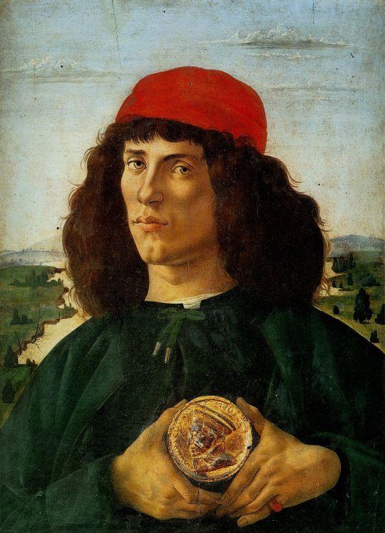 Портрет молодого человека с медальоном Козимо Медичи (1474) (57,5 x 44) (Флоренция, Уффици)