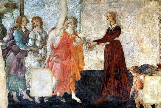 Молодая женщина получает дары от Венеры и трех Граций (фркска) (ок.1484) (283 х 211) (Париж, Лувр)
