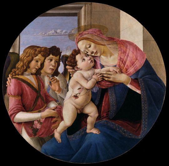 Мадонна с младенцем и двумя ангелами (тондо) (ок.1490) (Вена, Академия искусств)