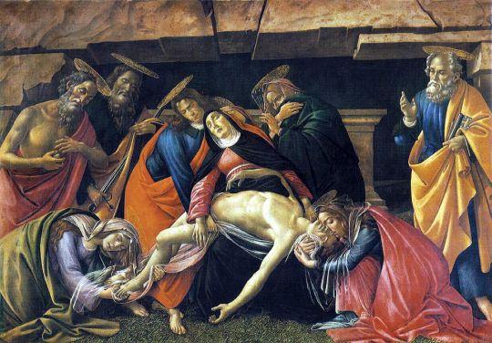 Оплакивание Христа (св.Иероним, св.Павел, св.Пётр) (1490-1492) (140 x 207) (Мюнхен, Старая пинакотека)