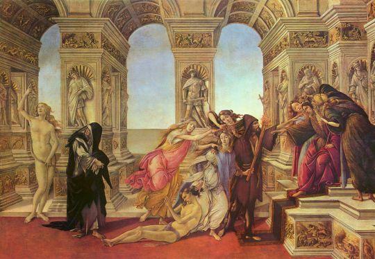Клевета Апеллеса (1494-1495) (62 х 91) (Флоренция, Уффици)