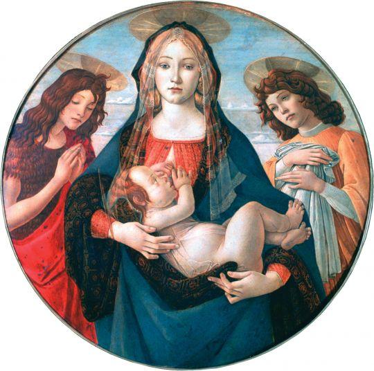 Мадонна с млад., св.Иоанном Крестителем и ангелом (ок.1490) (Лондон, Нац.галерея)