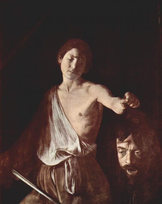 Давид с головой Голиафа, 1606
