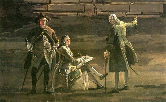 Автопортрет Каналетто с Тилем и Дитрихом (дата неизвестна)