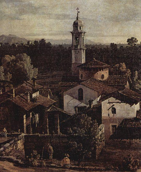 Вид деревни Гаццада (ведута Гаццада) с южной стороны. Деталь (1744)