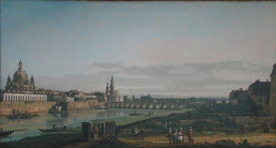 Вид Дрездена с правого берега Эльбы на Мост Августа (1747)