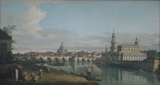 Вид Дрездена с правого берега Эльбы на Мост Августа(1748)