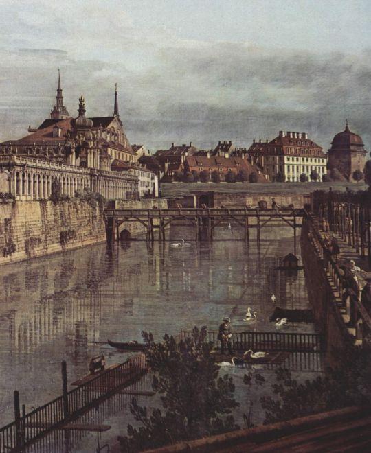 Вид Дрездена, старый крепостной ров в Цвингере, вид из оранжереи по направлению к городу. Деталь (1752)