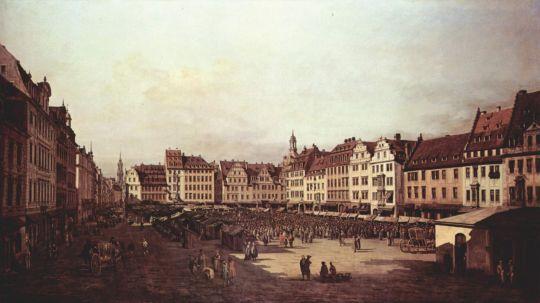 Вид Дрездена, старый рынок со стороны Морского переулка (1751)