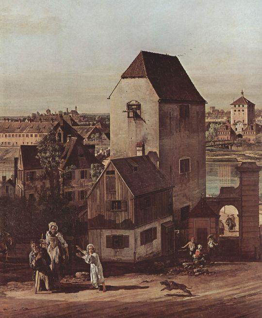 Вид Мюнхена, арочный мост через реку Изар, Мюнхен со стороны Гейдгаузена. Деталь (1761)