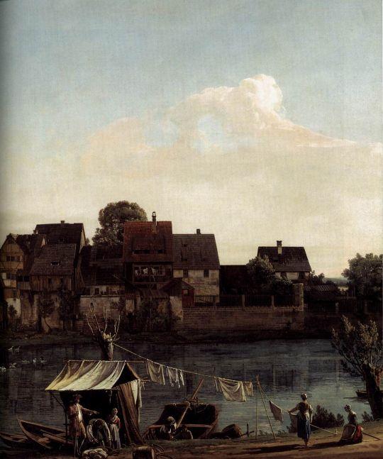 Вид Пирны со стороны гавани. Деталь (1753-1755)