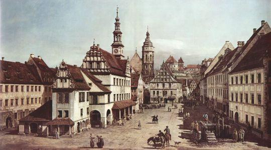 Вид Пирны, рыночная площадь в Пирне (1754)