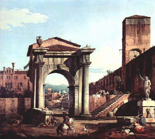 Римское каприччио, городские ворота и сторожевая башня (1747 )