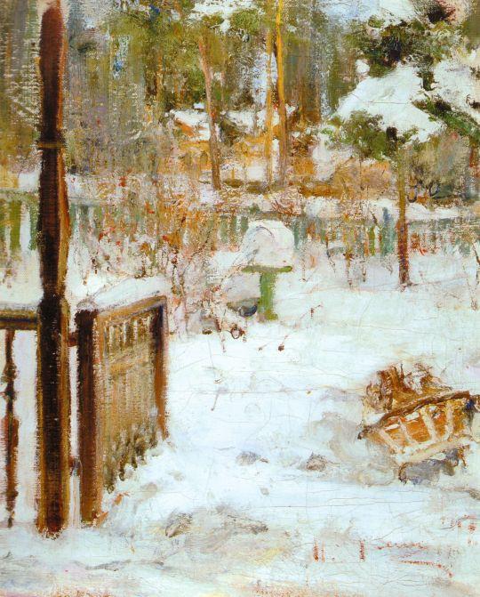 Зимний пейзаж с санями. Этюд (1917)