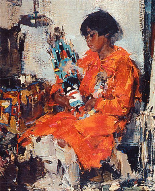 Мануэлита с качиной — ритуальной игрушкой (Сидящая индейская девочка) (1927—1933)