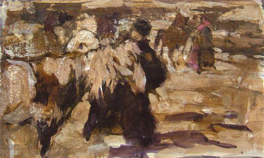 Мужик с лошадью. Эскиз многофигурной композиции (Сер. 1900-х)
