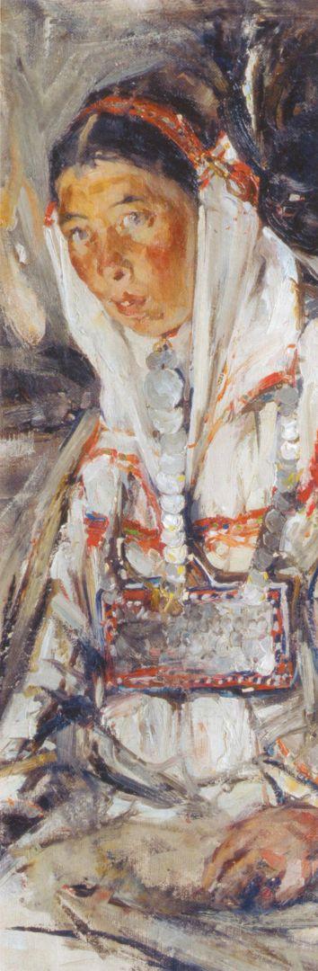 Портрет неизвестной (этюд к картине Черемисская свадьба) (1908)