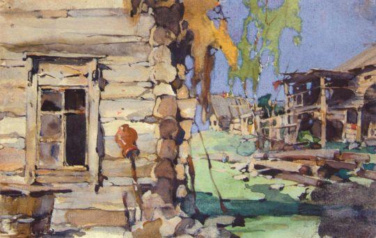 Уличный деревенский вид (задник). Иллюстрация к книге 3.М.Славяновой (1921)
