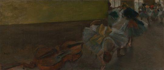 Танцовщицы в комнате с контрабасом (ок.1882-1885) (39.1 х 89.5) (Нью-Йорк, Метрополитен)