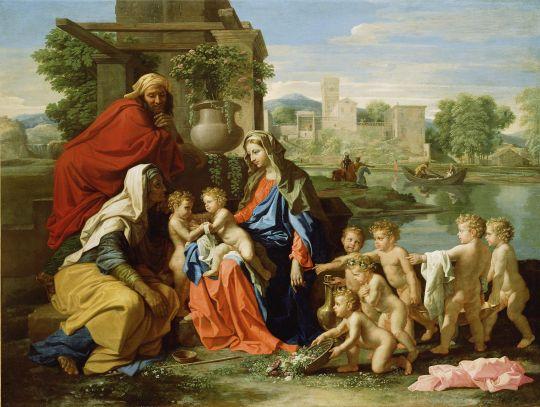 Святое семейство со св.Елизаветой и юным Иоанном Крестителем (1651) (96 х 133) (Лос-Анжелес, музей Пола Гетти)
