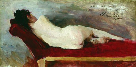 Лежащая натурщица отдыхает. 1881