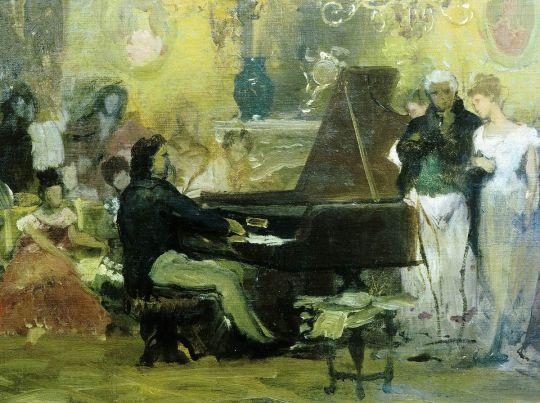 Шопен, играющий на фортепьяно в салоне князя Радзивилля в Берлине (эскиз)