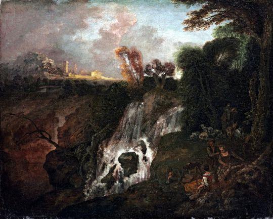 Пейзаж с водопадом (1712-1713) (51.1 x 63.2) (частная коллекция)