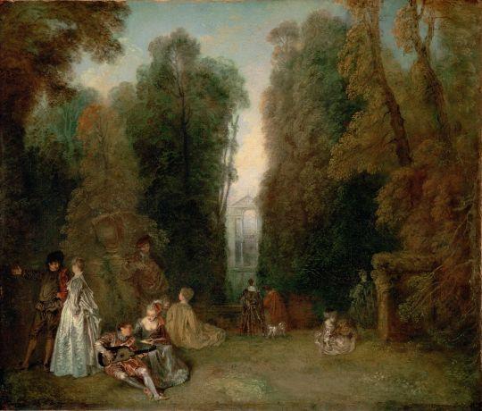 Перспективы (Вид между деревьями в парке Пьера Кроза) (ок.1715) (46.7 x 55.3) (Бостон, Музей изящ.искусств)